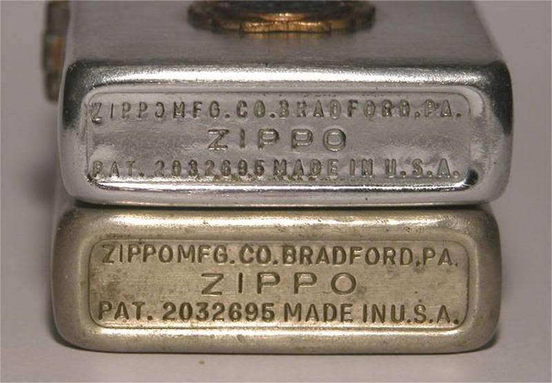 Ở đáy của những chiếc ZiPPO đầu tiên ghi bằng sáng chế