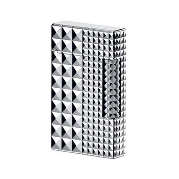 Bật lửa S.T.Dupont vân kim cương mạ bạc