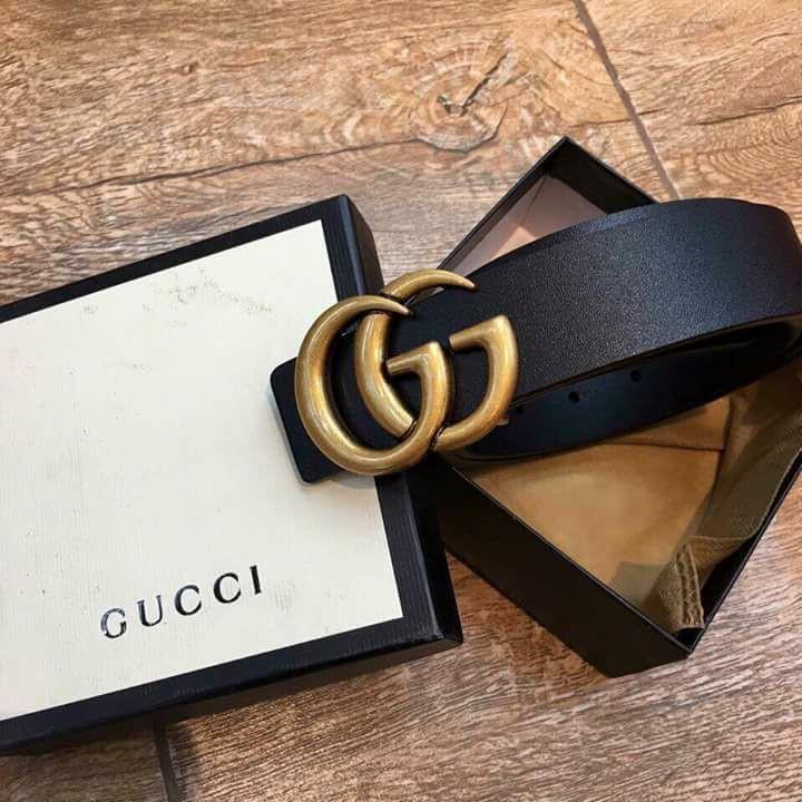 Dây nịt Gucci chất liệu da cao cấp màu đen bóng
