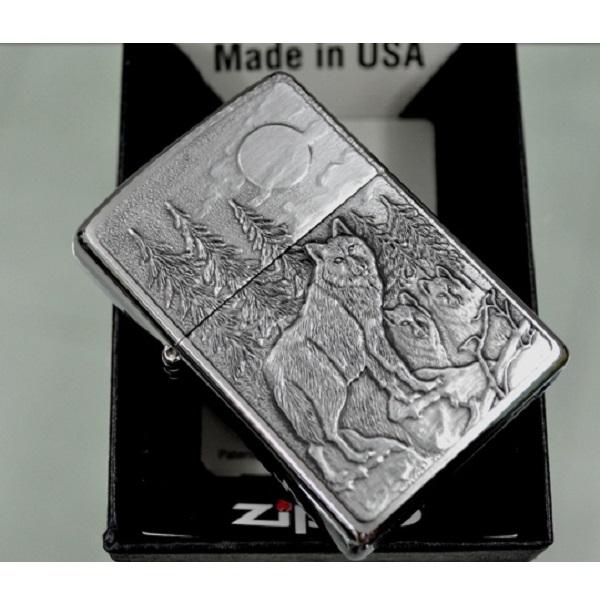 Mẫu bật lửa ZiPPO Classic đồng nguyên khối emblem hình sói tại ZiPPO Bình Dương