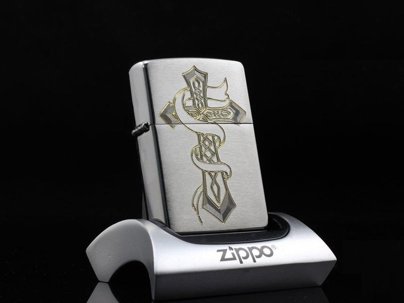 ZiPPO Sterling bạc chạm hình thánh giá