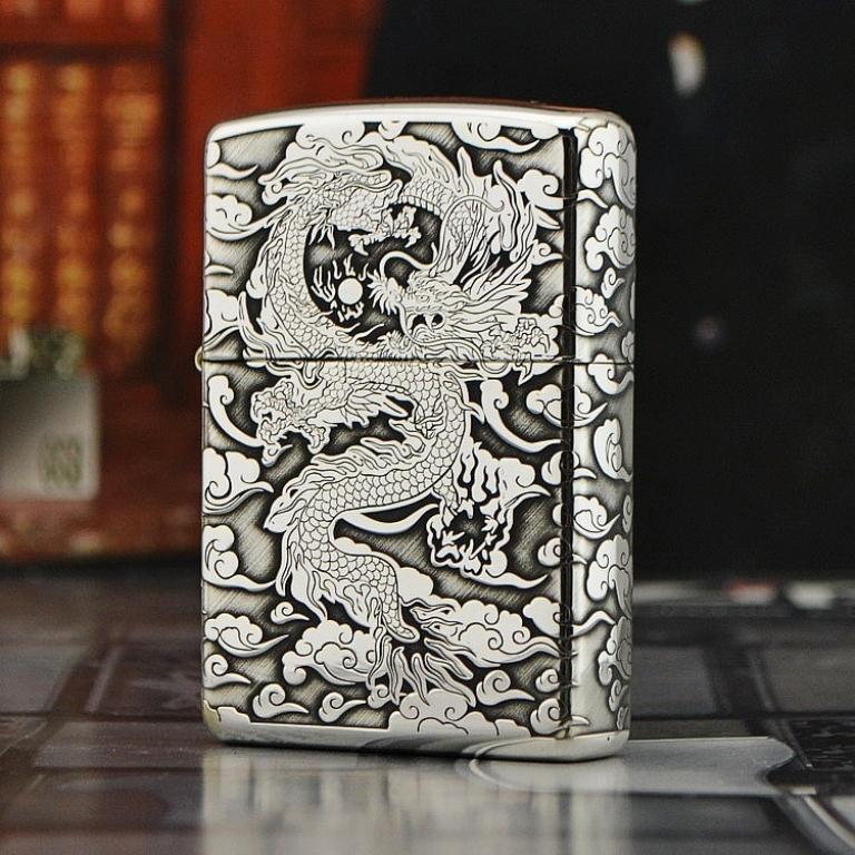 ZiPPO Sterling bạc nguyên khối chạm khắc hình tượng Rồng tuyệt mỹ