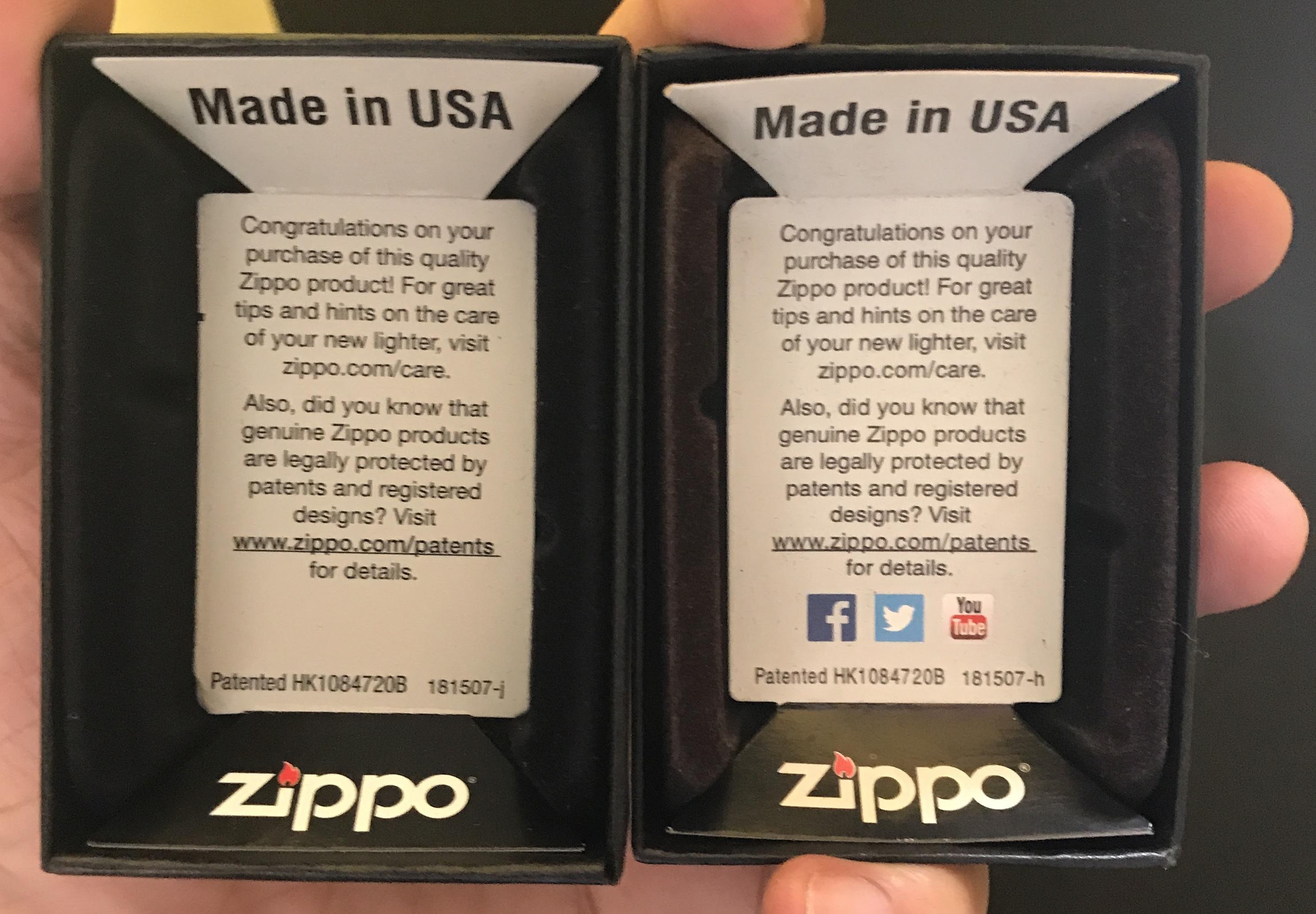 Sự khác biệt trong giữa vỏ hộp ZiPPO thật và gi